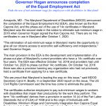 Governor Hogan announces completion of the Equal Employment Act